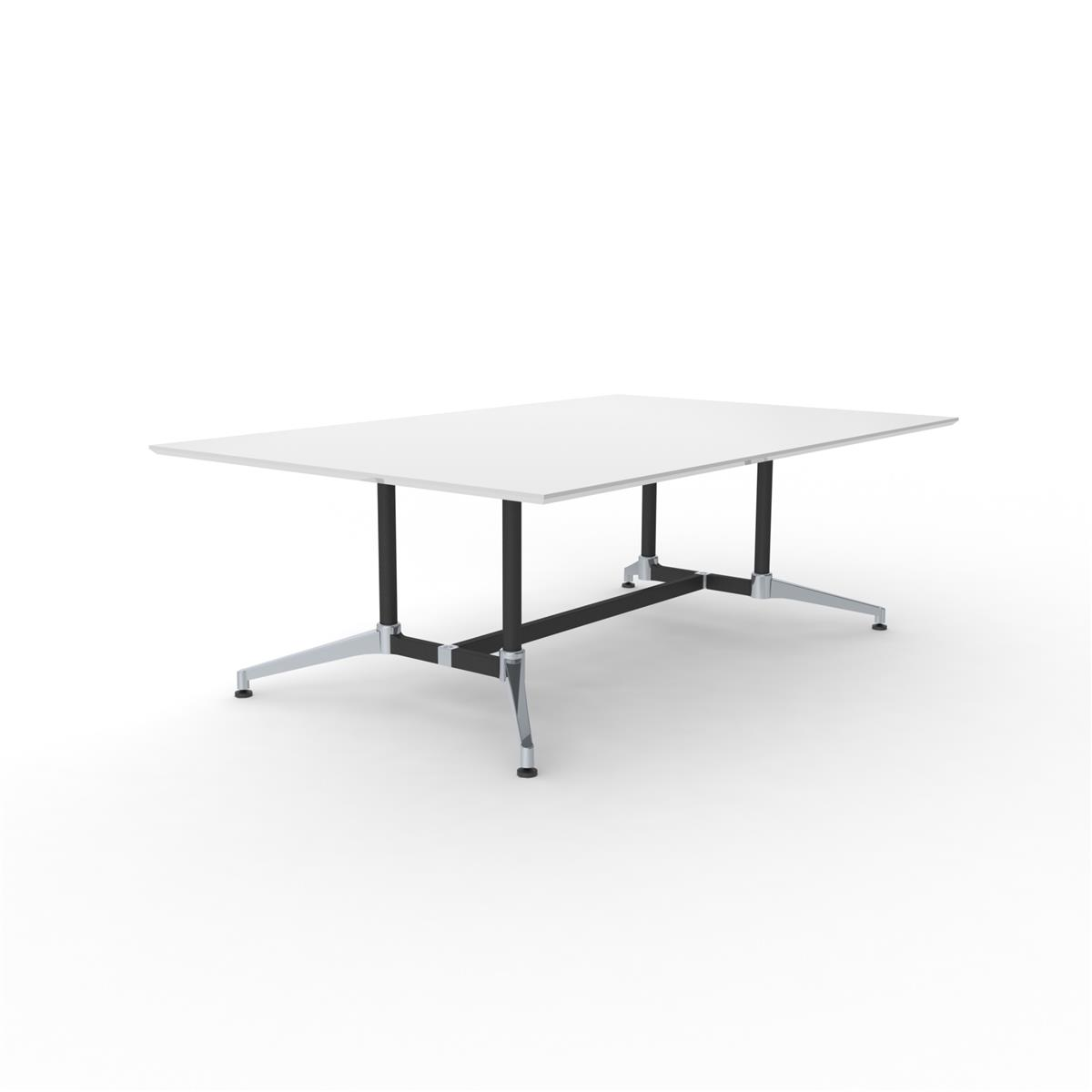 X1 Seamless Table 220 x 140 - hvit melamin & sort/aluminium