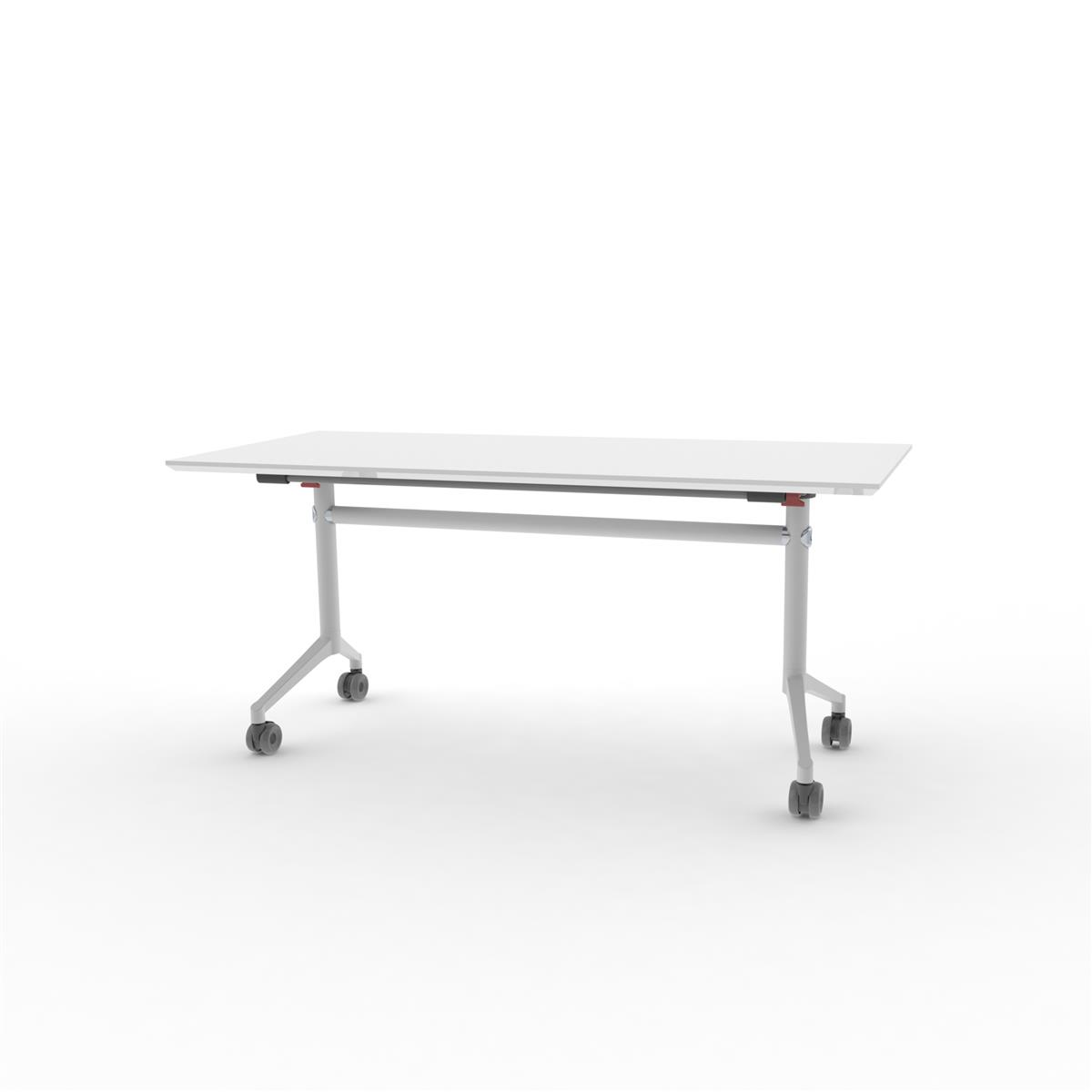 X1 Seamless Folding Table 160x70 cm med hvit HPL og hvitt understell