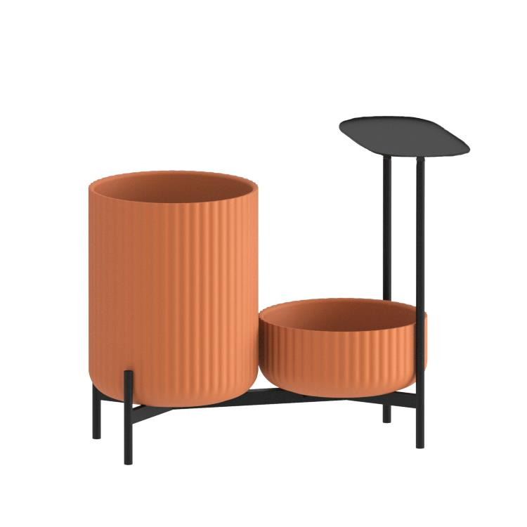 Klorofyll Double Low Base & Low + High Planter in Concrete Terracotta with Oval Table