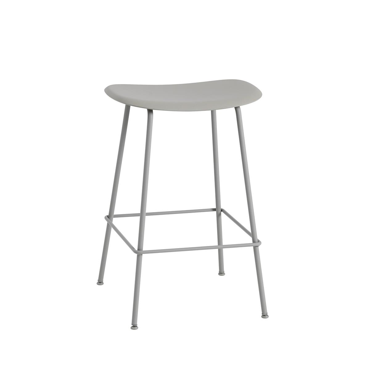 Fiber Bar Stool / Tube Base H65 - Grey
