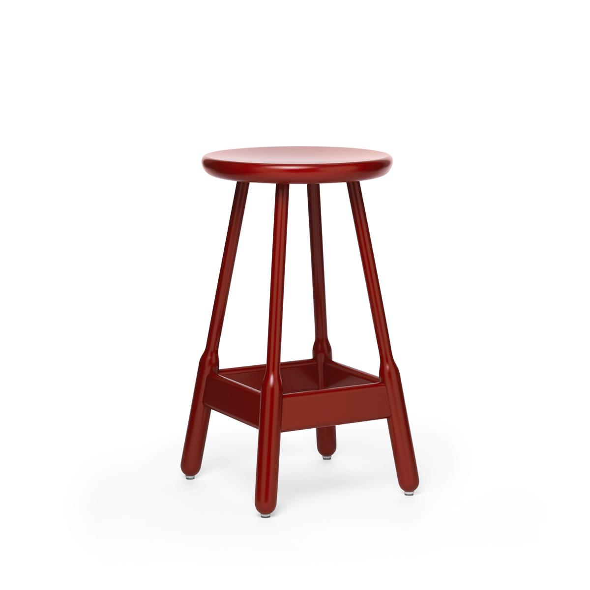 Albert Low Bar Stool - Red Lacquered