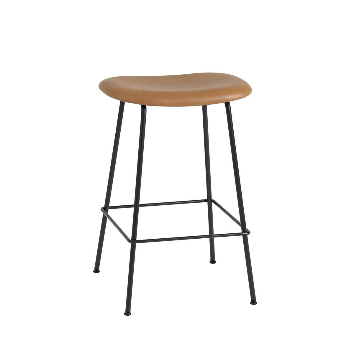 Fiber Bar Stool / Tube Base H65 - Cognac Silk Leather & Black