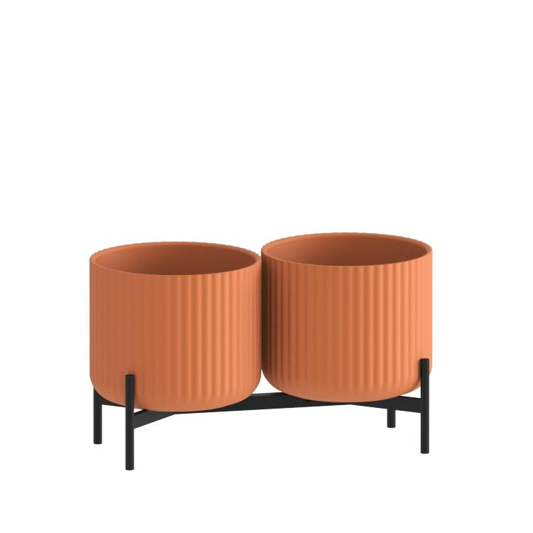 Klorofyll Double Low Base & Medium Concrete Planters