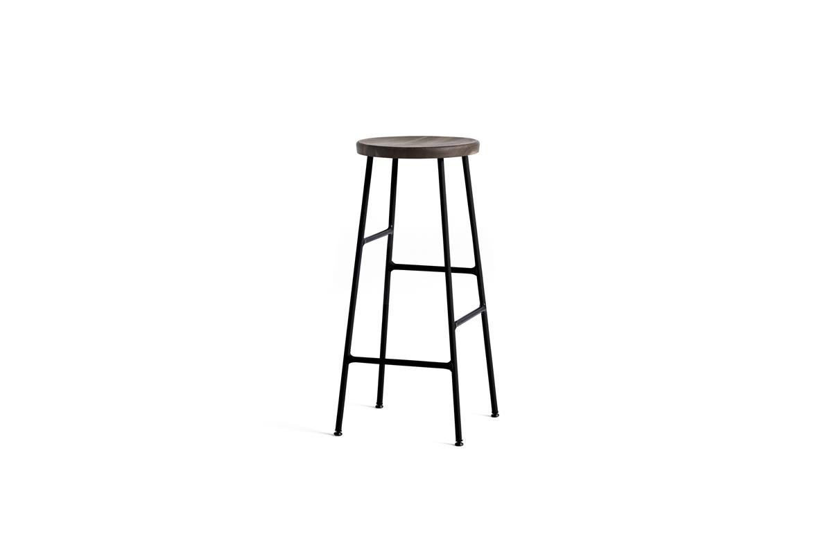 Cornet Bar Stool H75 - Smoked Oiled Oak & Black