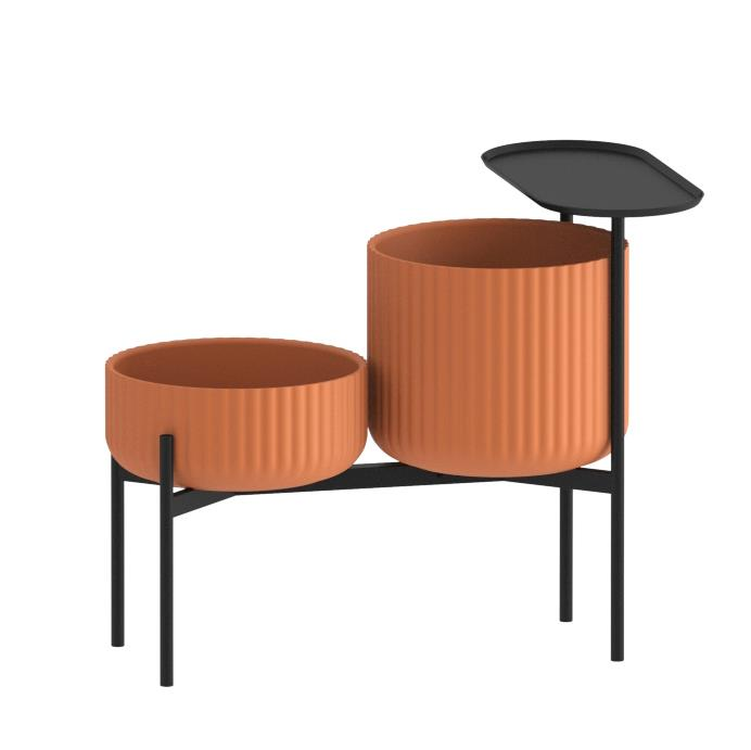 Klorofyll Double Medium Base & Low + High Planter with Oval Table