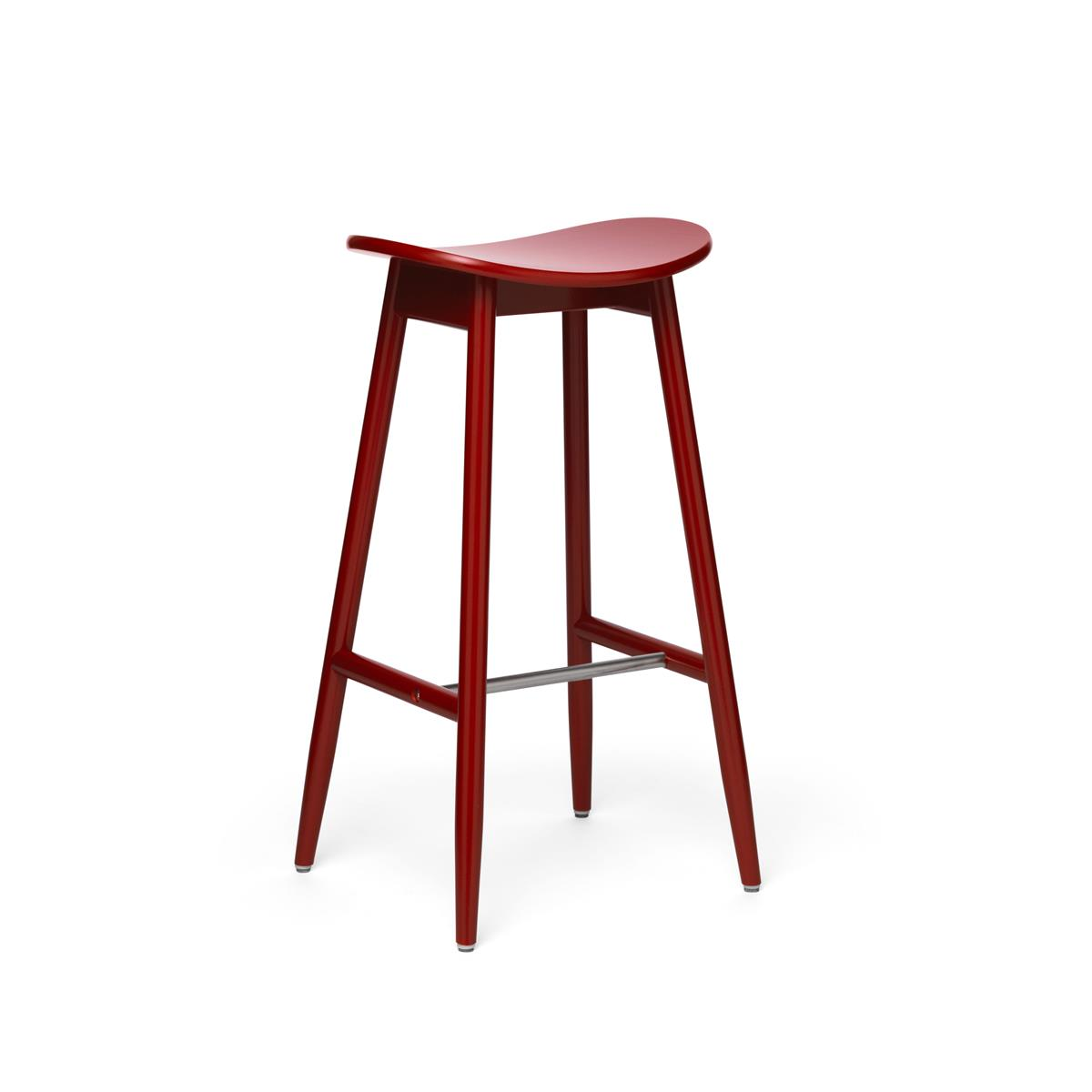 Icha Bar Stool - Red Lacquered