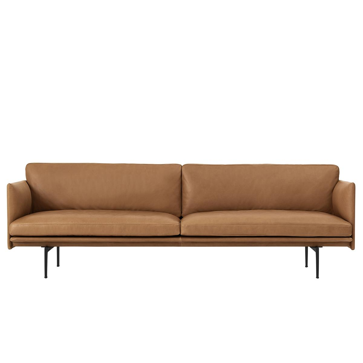 Outline Sofa 3 Seater - Cognac Silk Leather & Black