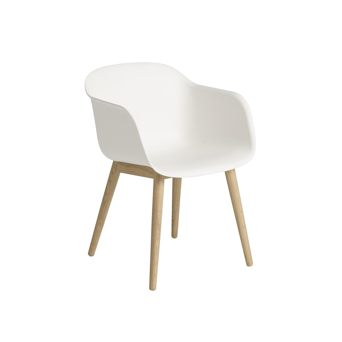Fiber Armchair Wood base - White & Oak