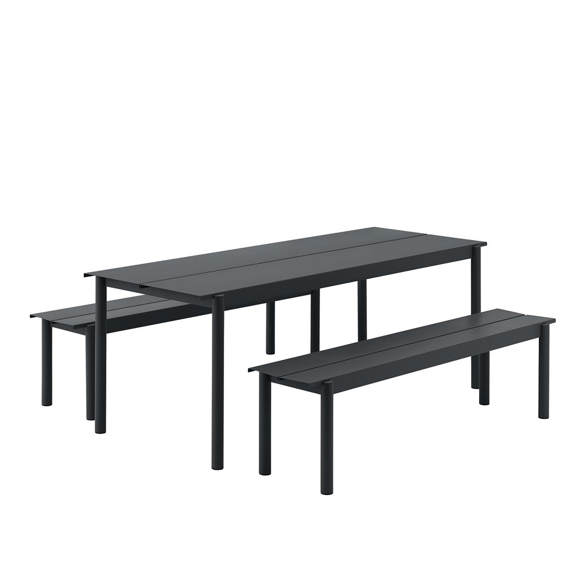 Linear Steel Table 200 x 75 med 2 Stk. Linear Steel Bench L:170. Black.