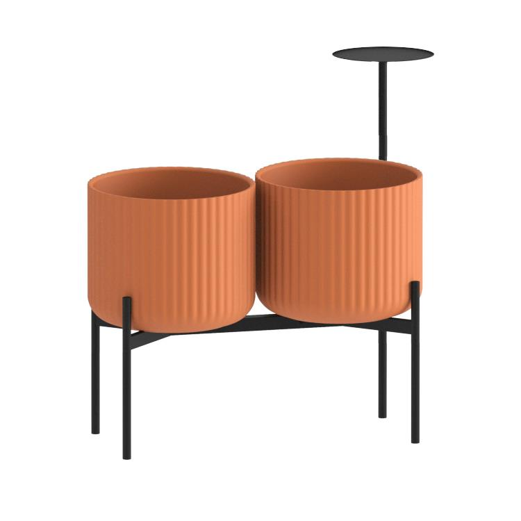 Klorofyll Double Medium Base & Medium Concrete Terracotta Planters with Round Table