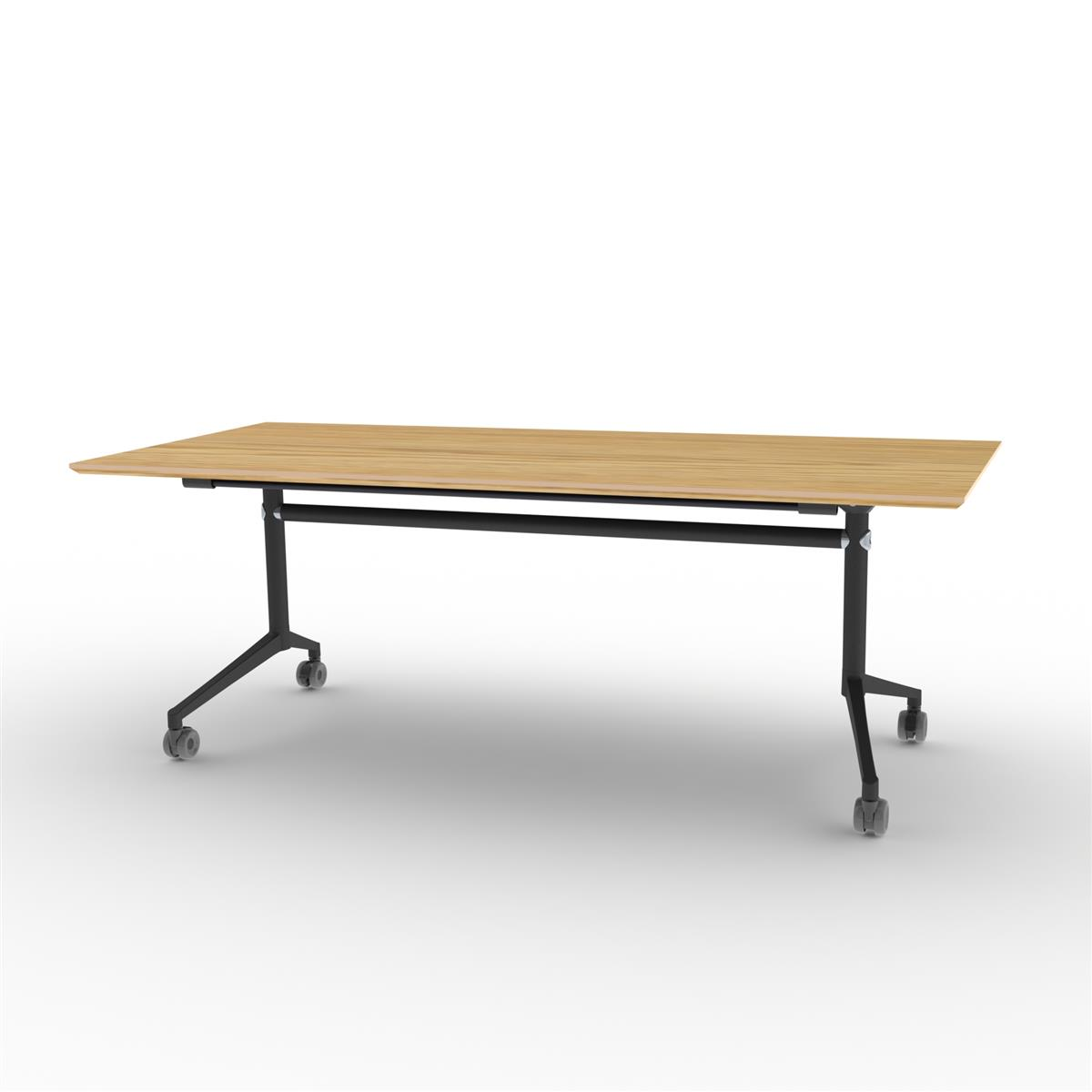 X1 Seamless Folding Table 200x90 cm med eikefinér og sort understell