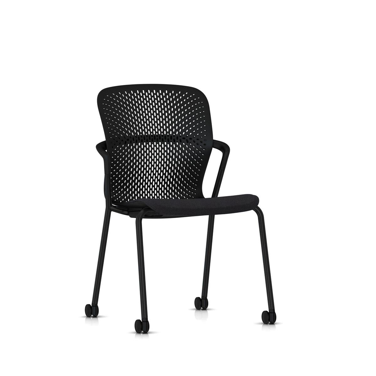Keyn 4 Leg Chair - Black med  Camira Sprint tekstil og trinser
