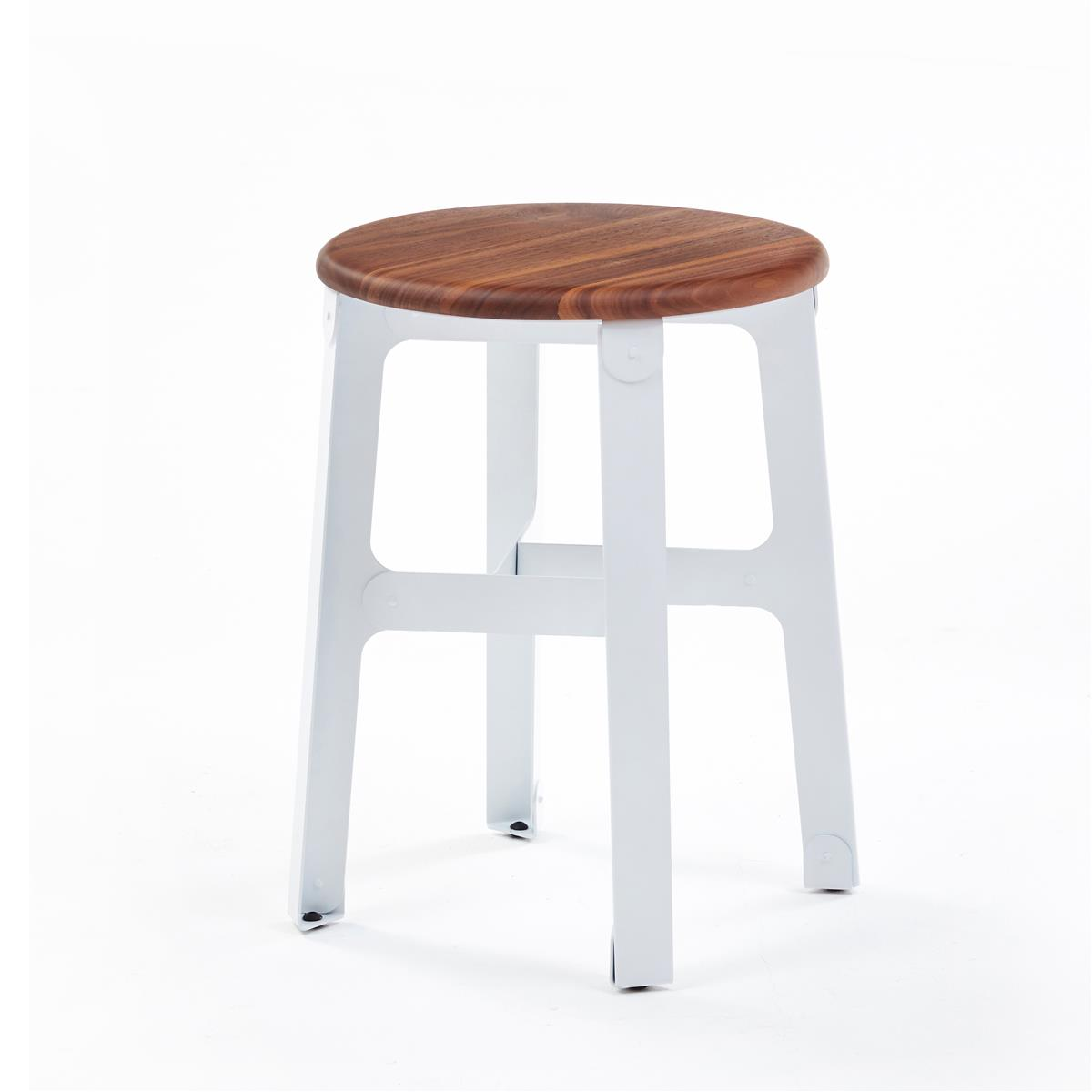 Construct stool H45 - Walnut & Signal White