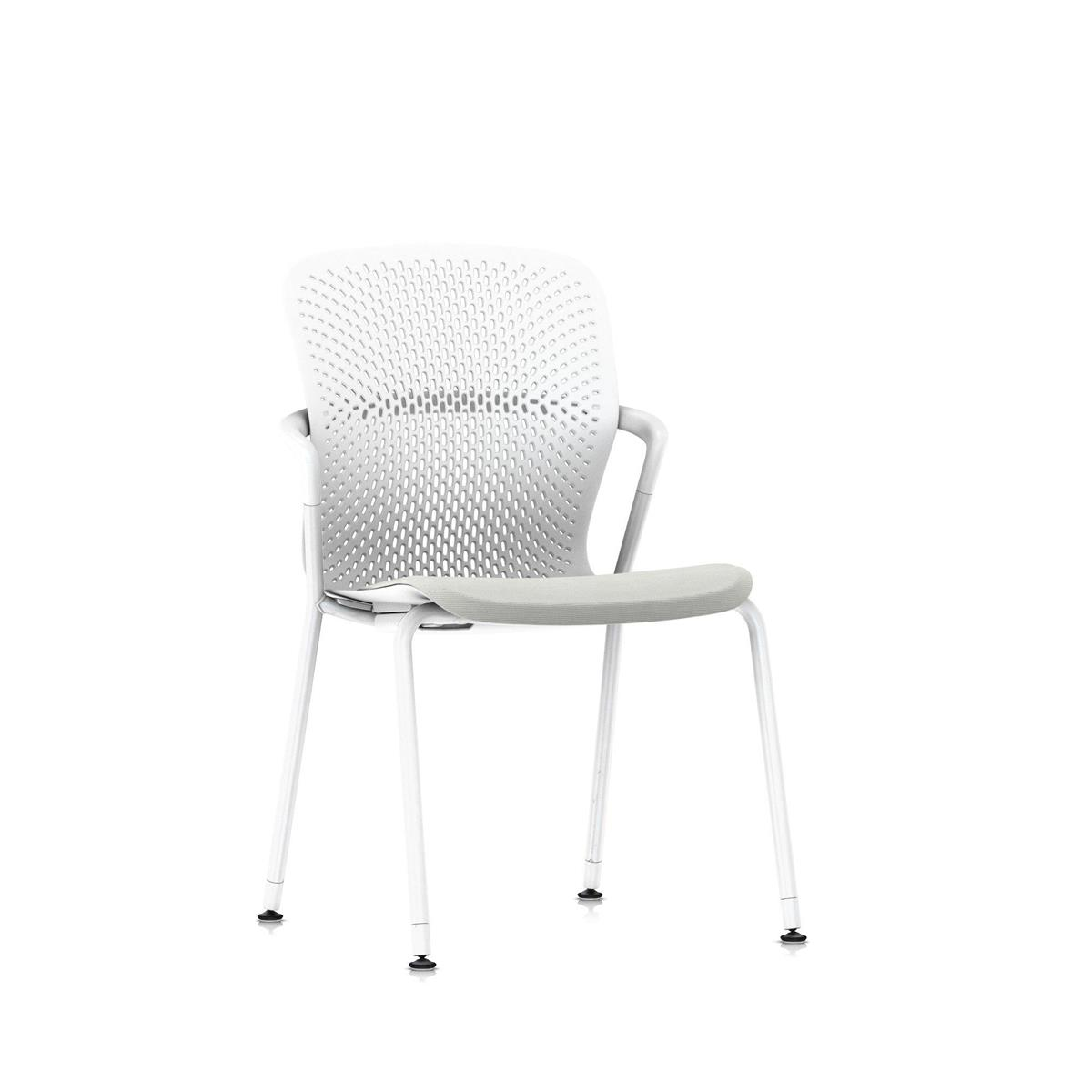 Keyn 4 Leg Chair - Studio White & Camira Sprint, glidere for harde gulv