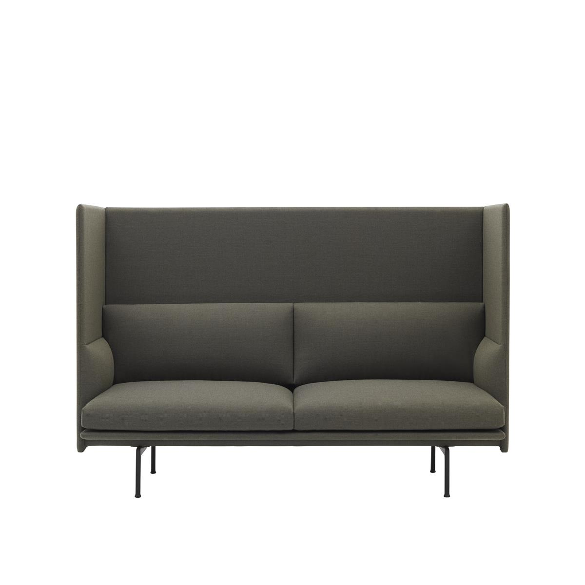 Outline Highback 2 Seater - Fiord & Black