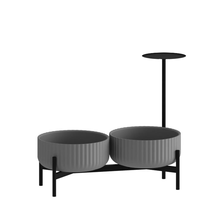 Klorofyll Double Low Base &  Low Concrete Planters with Round Table