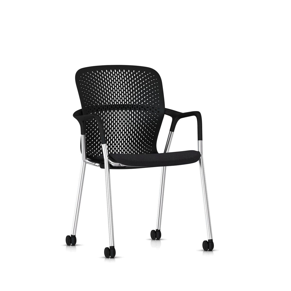 Keyn 4 Leg Armchair Chrome & Black - Camira Sprint tekstil og trinser