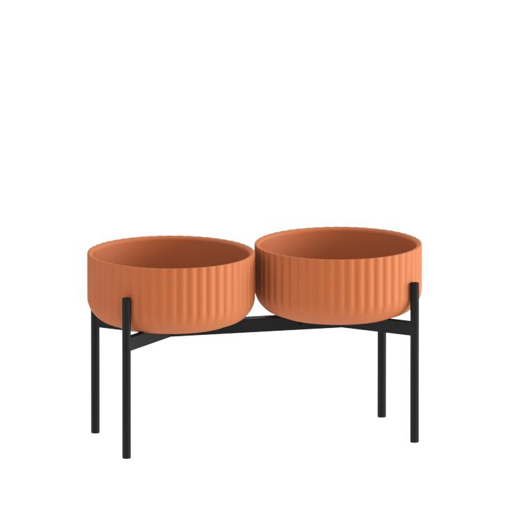 Klorofyll Double Medium Base & Low Concrete Terracotta Planters
