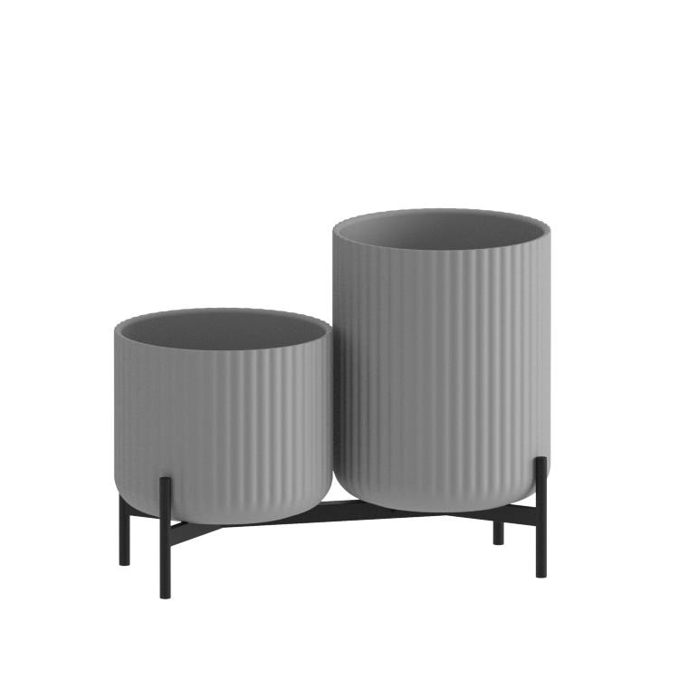 Klorofyll Double Low Base & Medium + High Concrete Grey Planters