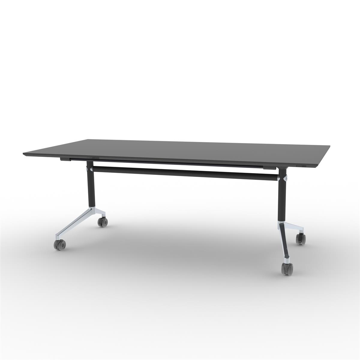 X1 Seamless Folding Table 200x90 cm med sort linoleum, ramme i sort og polert aluminium