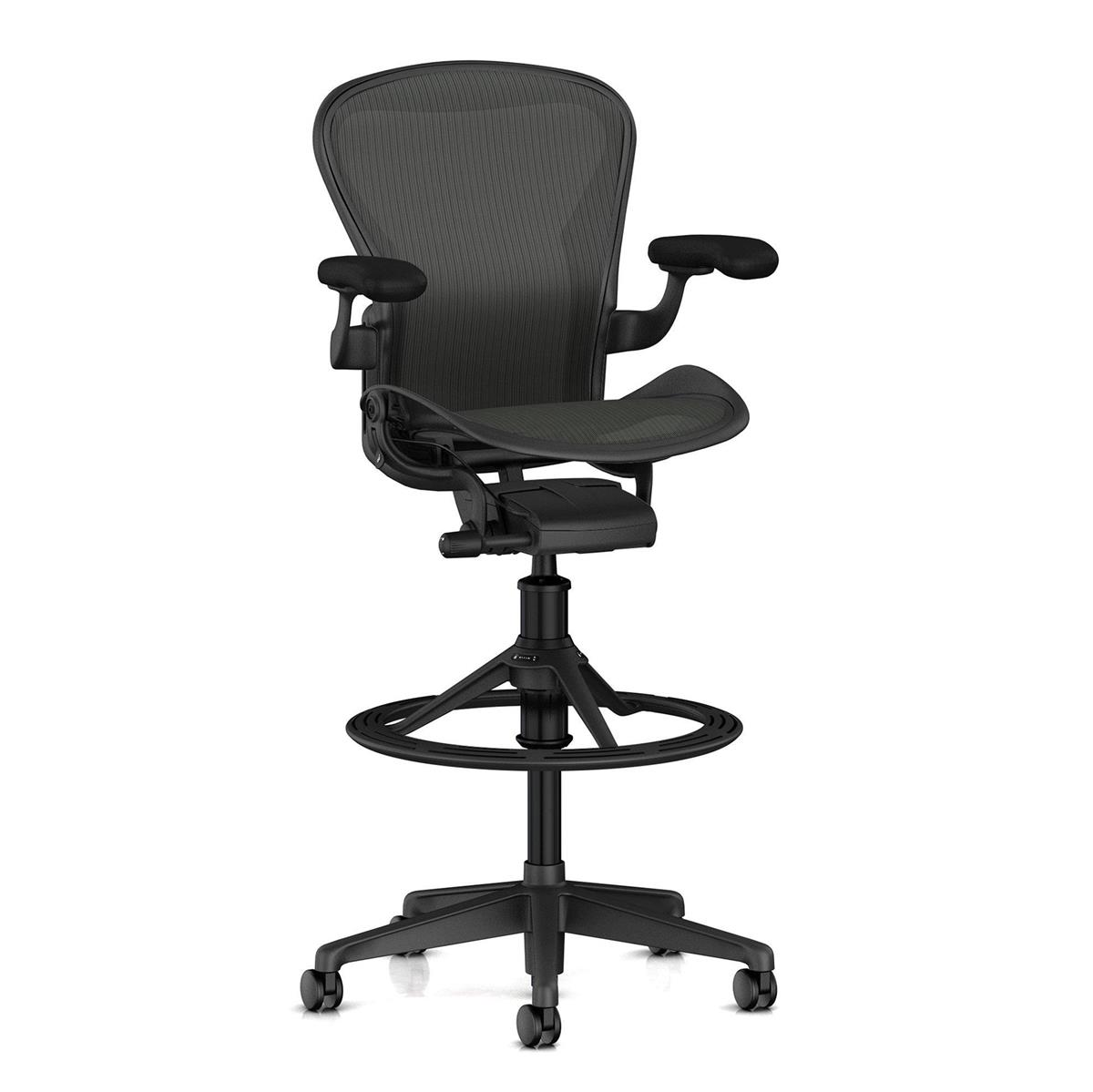 Aeron Stool Counter Height (basic) - Graphite & Stationary Arms