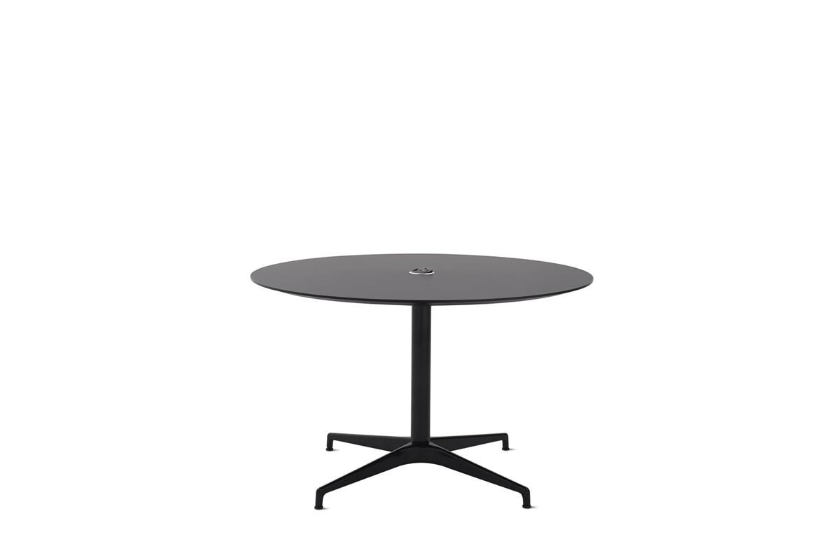 Civic Table Ø120 cm - Charcoal Linoleum with USB power & Black frame