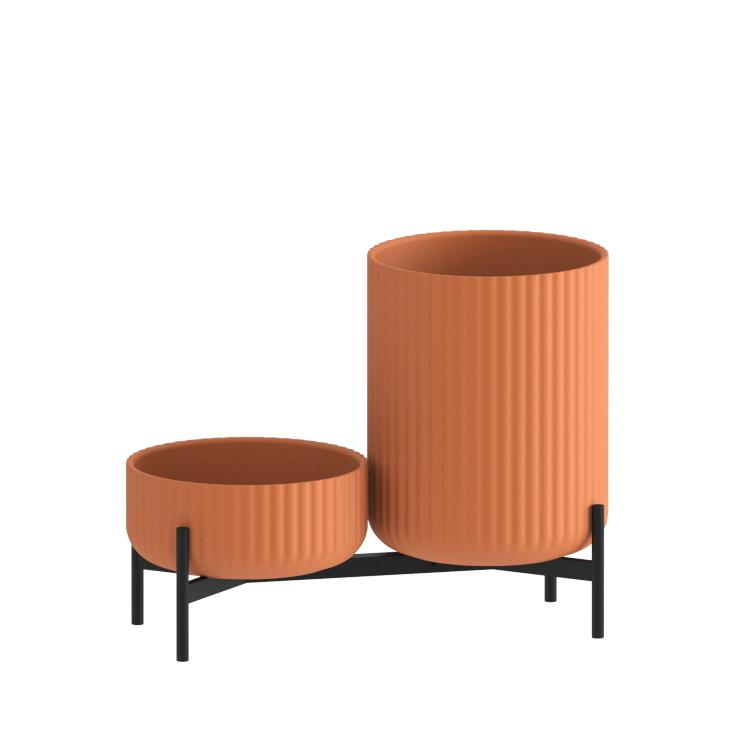 Klorofyll Double Low Base & Low + High Concrete Terracotta Planters