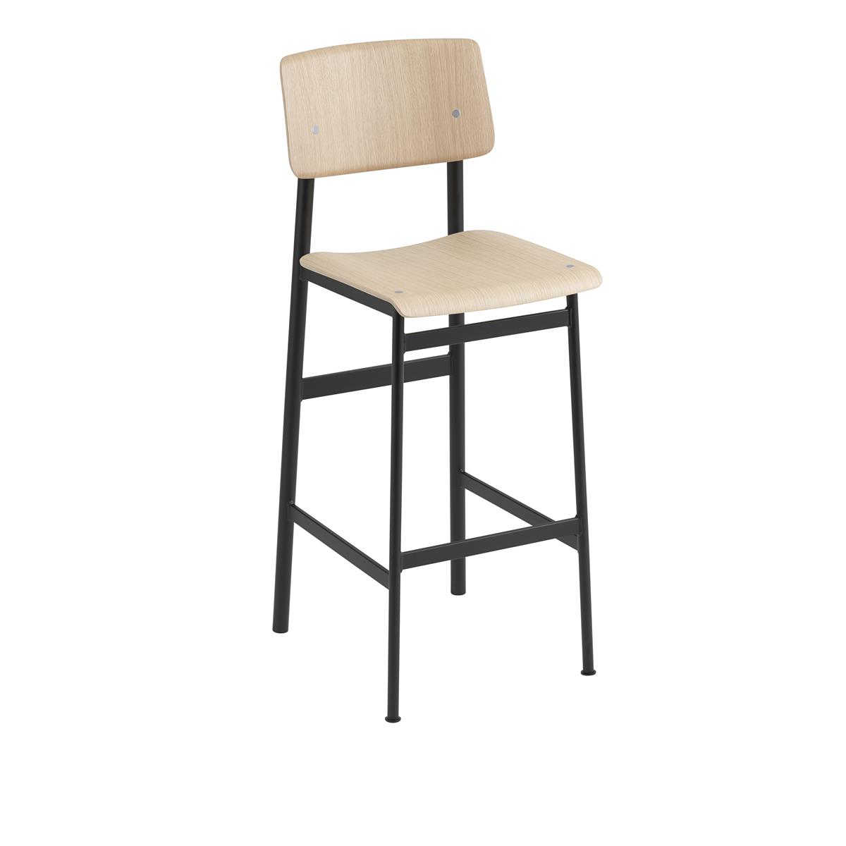 Loft Bar Stool H75 - Black & Oak