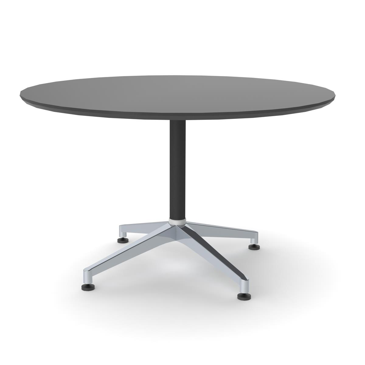 X1 Seamless Table Ø120 cm - sort linoleum & sort/alu understell