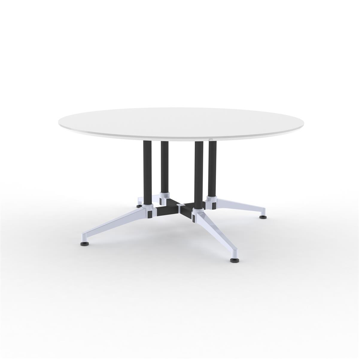 X1 Seamless Table Ø150 cm med hvit melamin & sort / alu understell