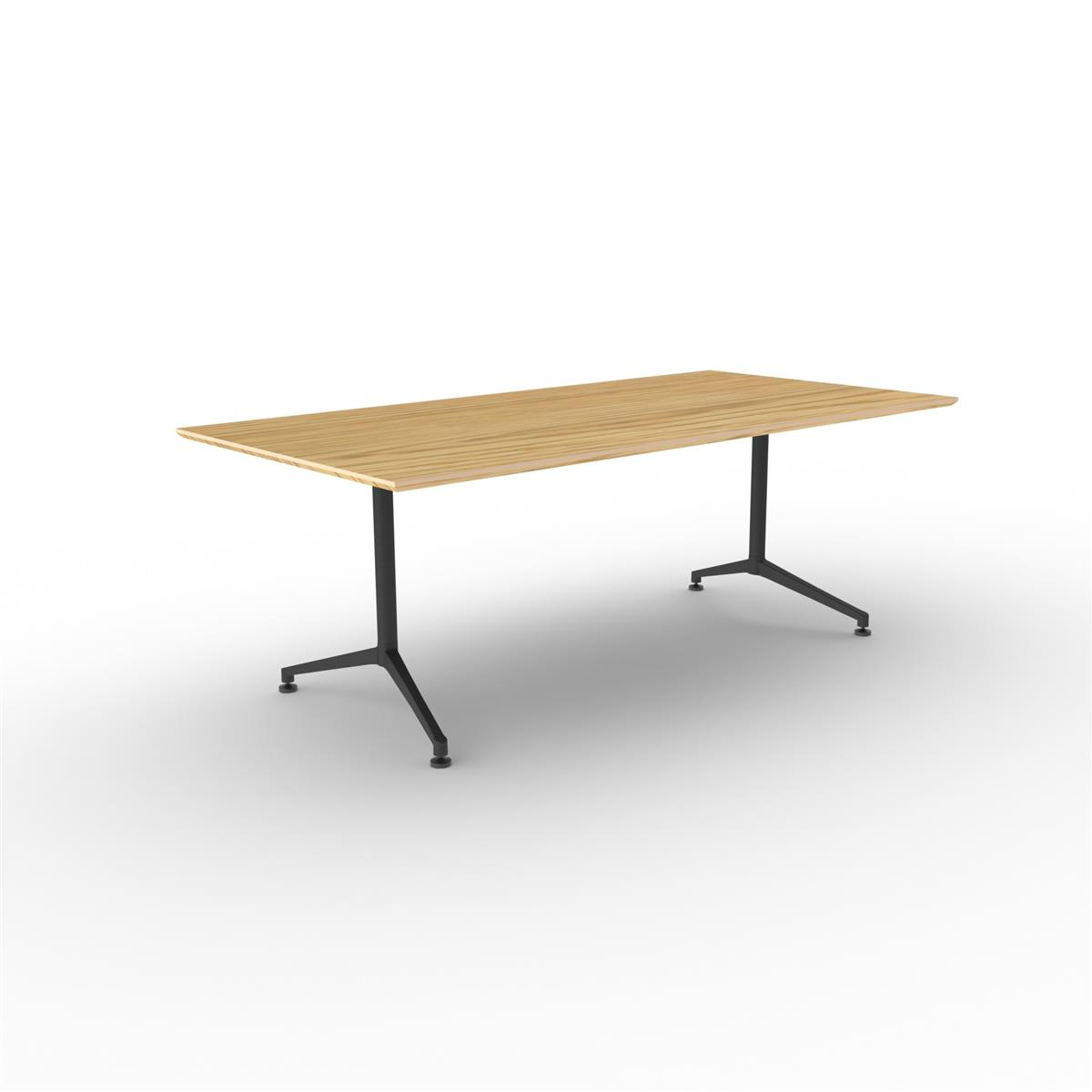 X1 Seamless Table 200 x 120 cm med eik finér og sort understell