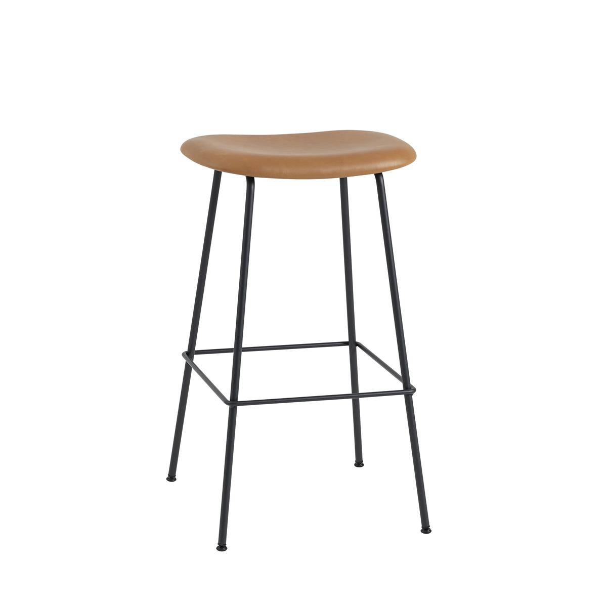 Fiber Bar Stool Tube Base H75 - Cognac Silk Leather & Black