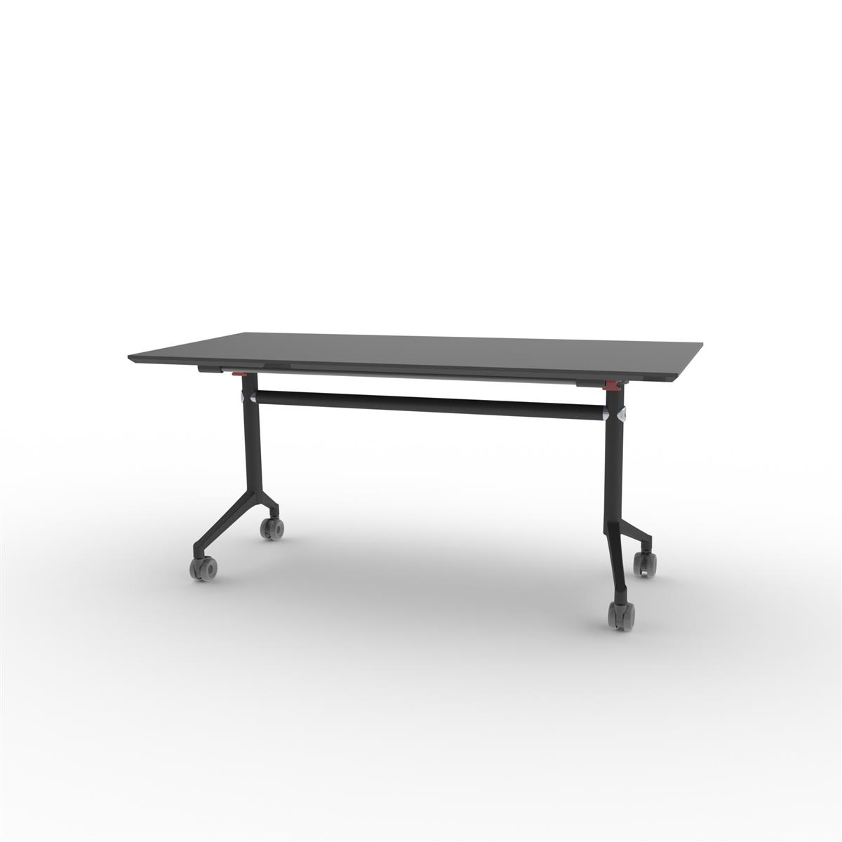 X1 Seamless Folding Table 160x70 cm med sort linoleum og sortlakkert understell