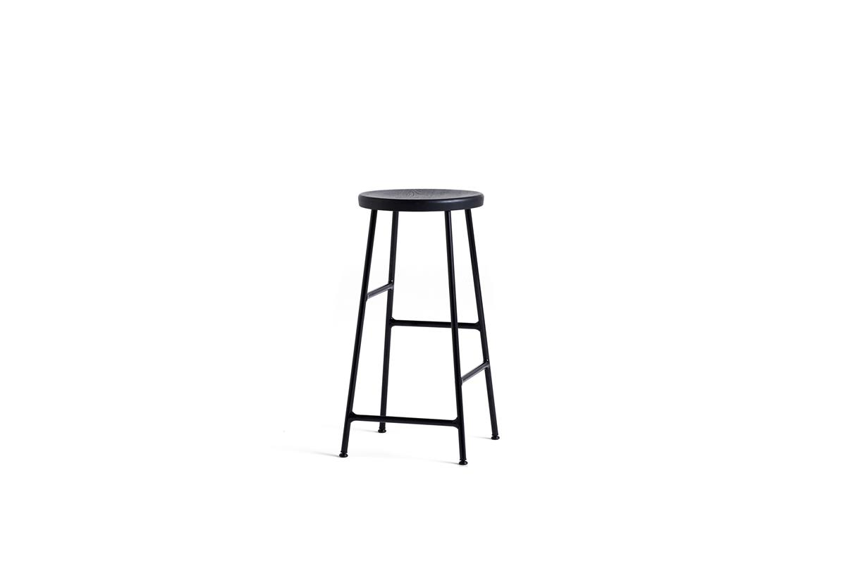 Cornet Bar Stool H65 - Soft Black Stained Oak & Black