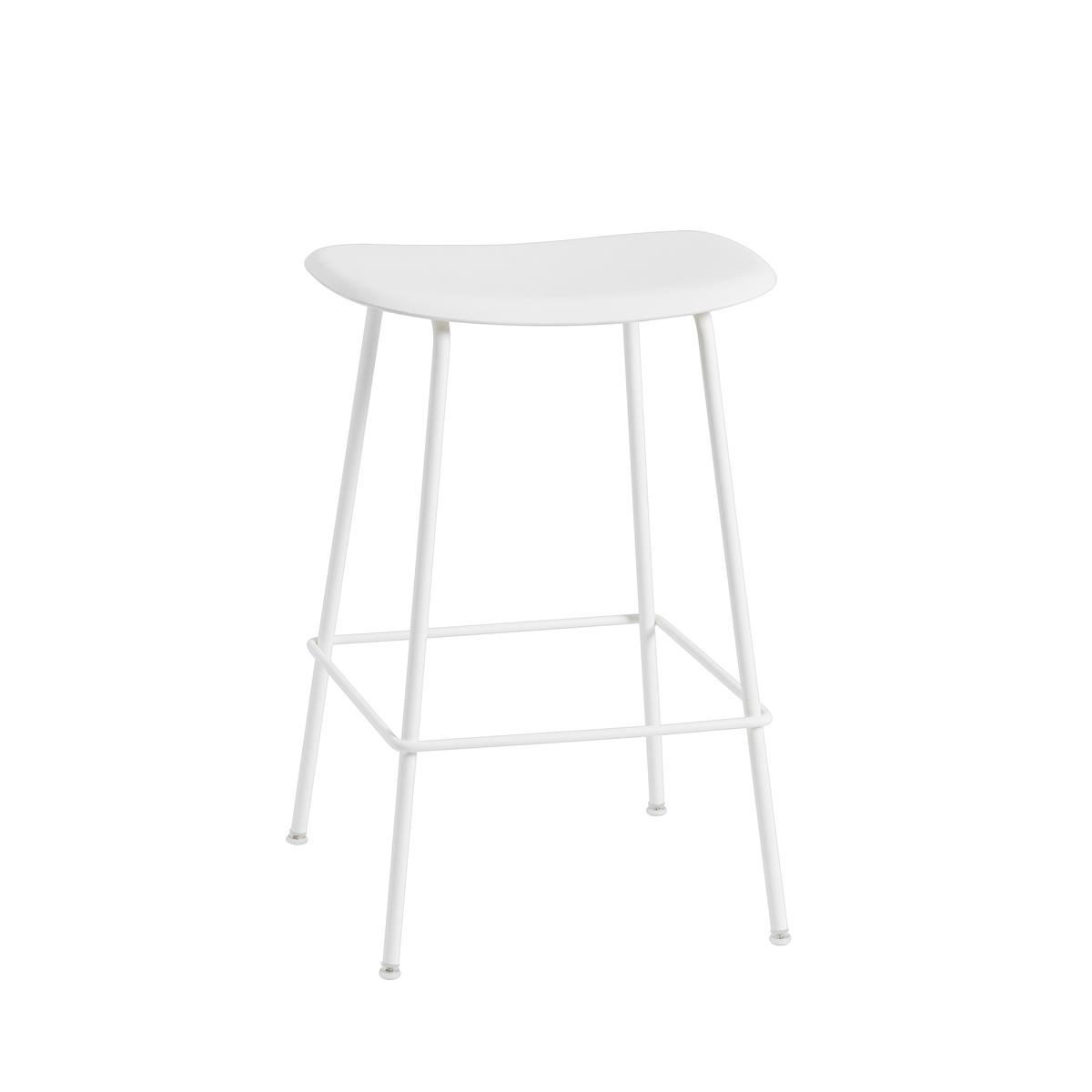 Fiber Bar Stool / Tube Base H65 - Natural White