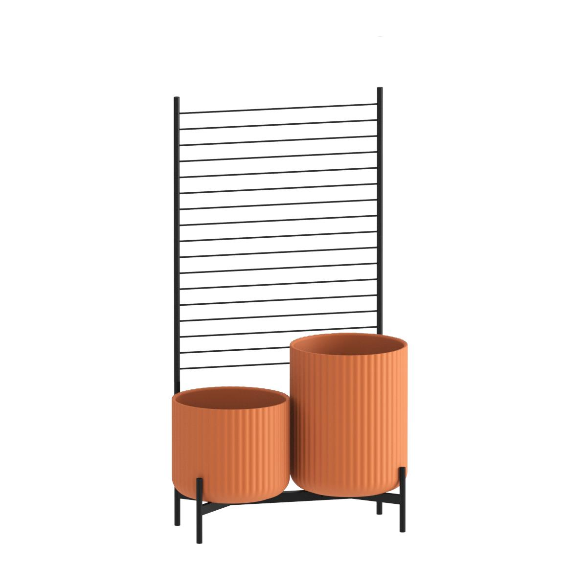 Klorofyll Double Low Base & Medium + High Concrete Terracotta Planters with Espalier
