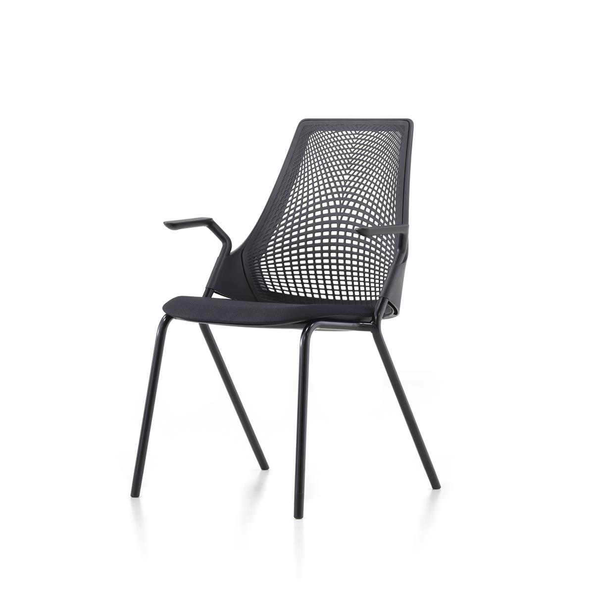 SAYL Side Chair med 4 ben & armlener, sort