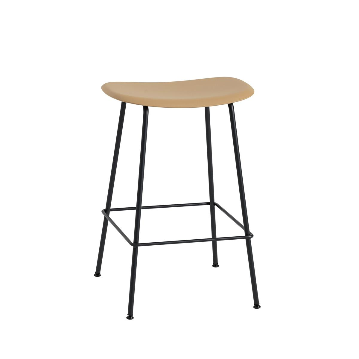 Fiber Bar Stool / Tube Base H65 - Ochre & Black