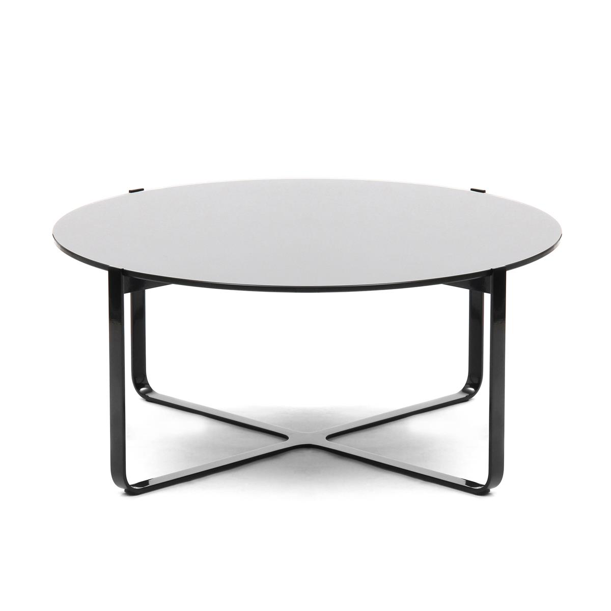 Trace Circular Table Ø80 x H35 cm i sort med glasstopp