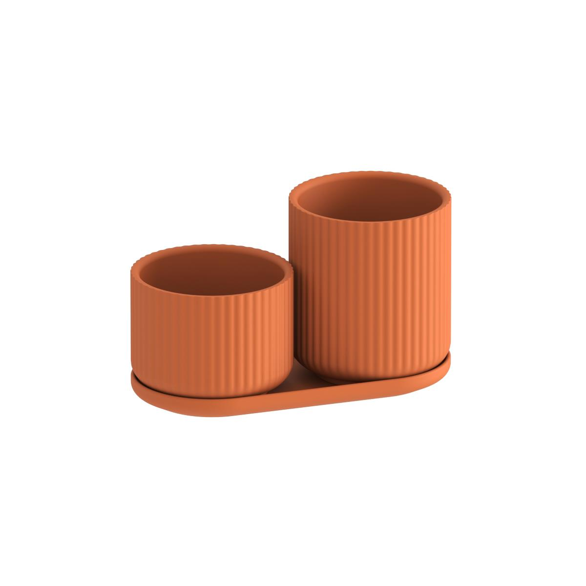 Klorofyll Set 01 with Pot 100 & 150 with Tray - Terracotta