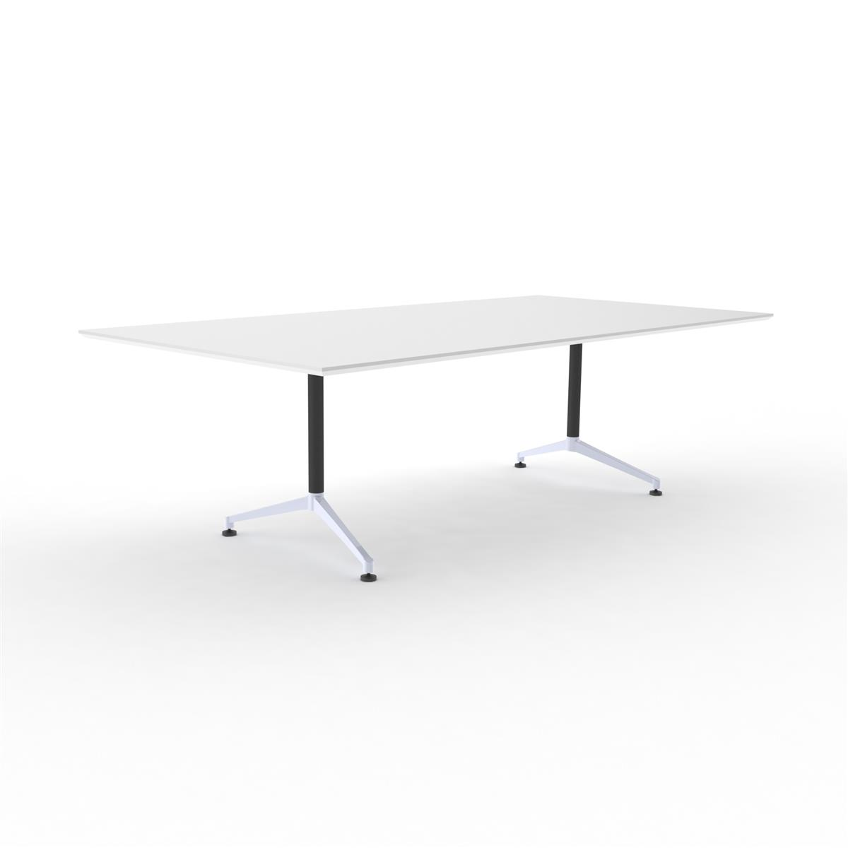 X1 Seamless Table 240 x 120 cm med hvit bordplate og sort/aluminium understell