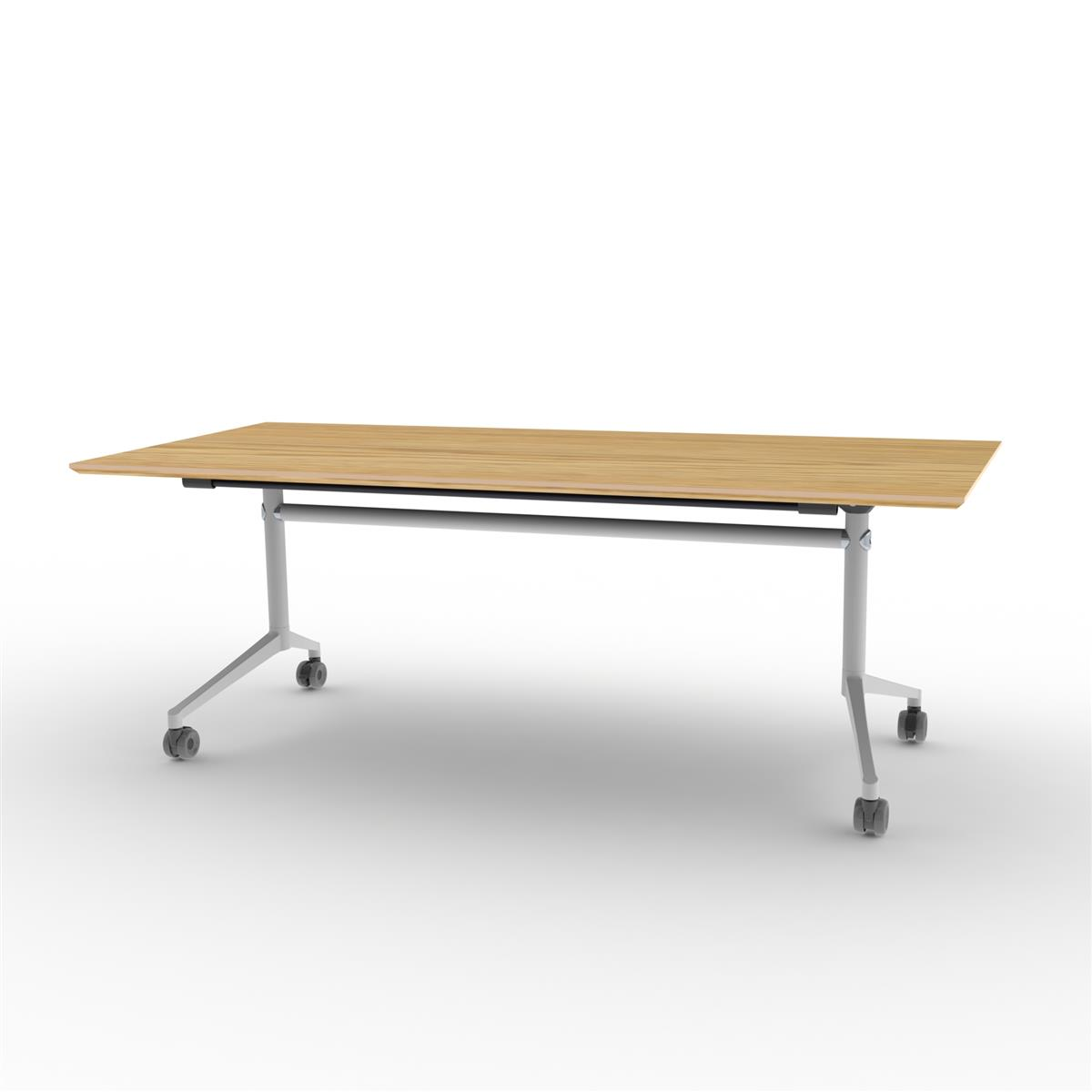 X1 Seamless Folding Table 200x90 cm med eikefinérog hvitt understell
