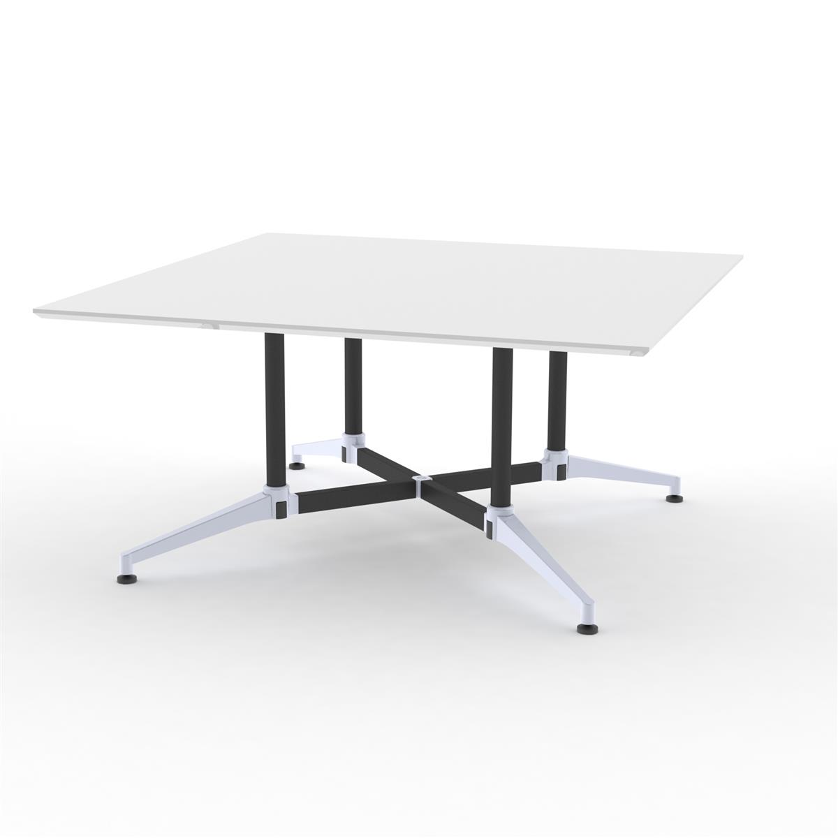 X1 Seamless Table 150 x 150 cm - hvit melamin & sort / alu understell