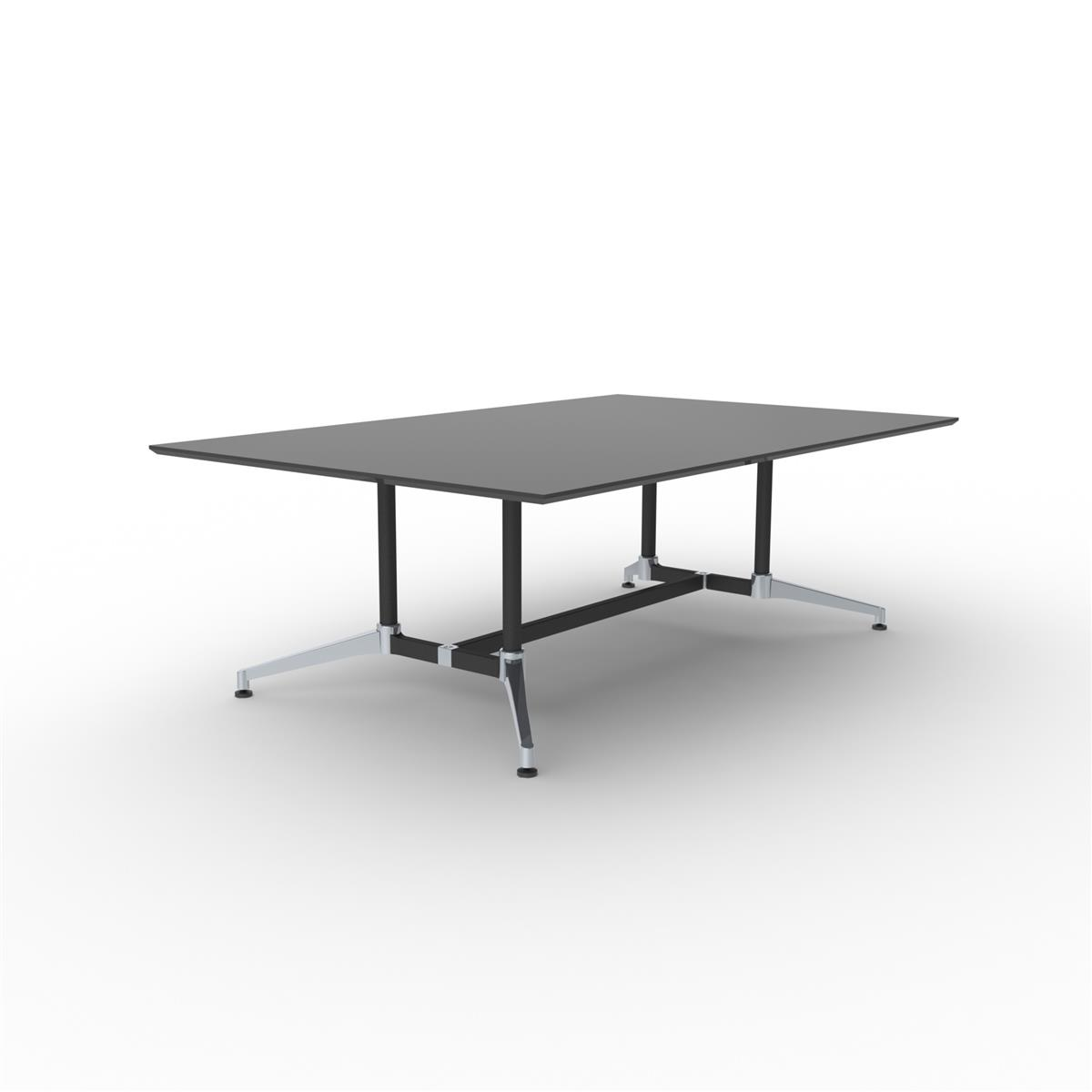 X1 Seamless Table 220 x 140 - sort linoleum & sort/aluminium