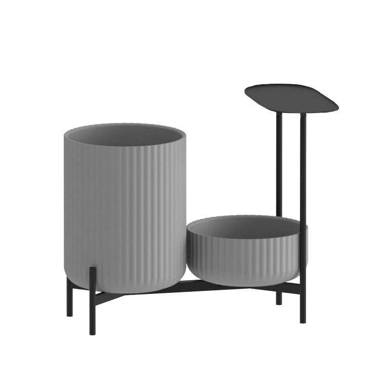 Klorofyll Double Low Base & Low + High Planter in Concrete Grey with Oval Table