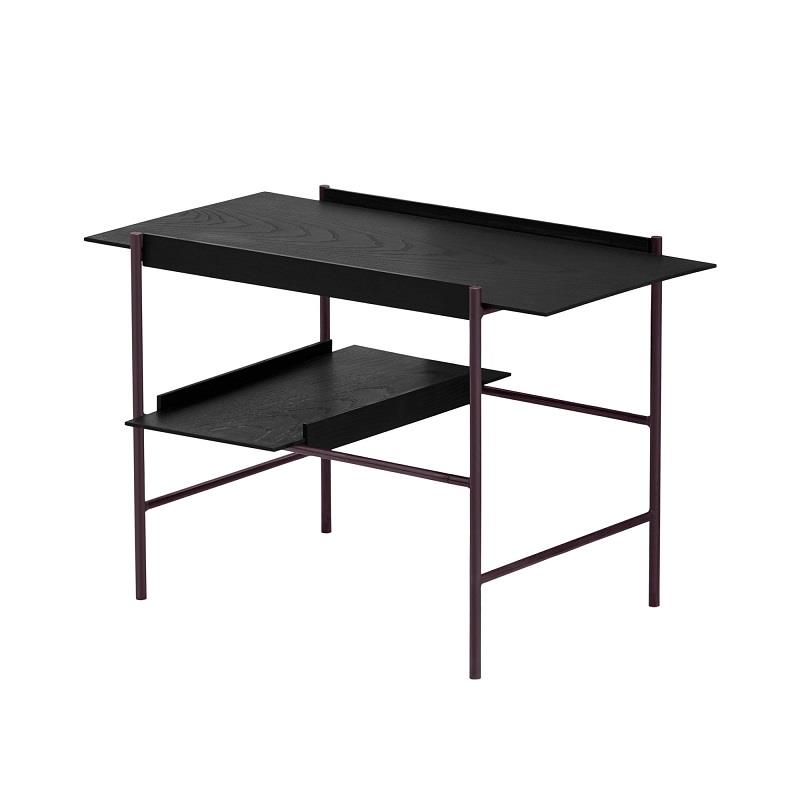 Kanso Tray Table. Stained black tray set (ash). Fig Purple frame.