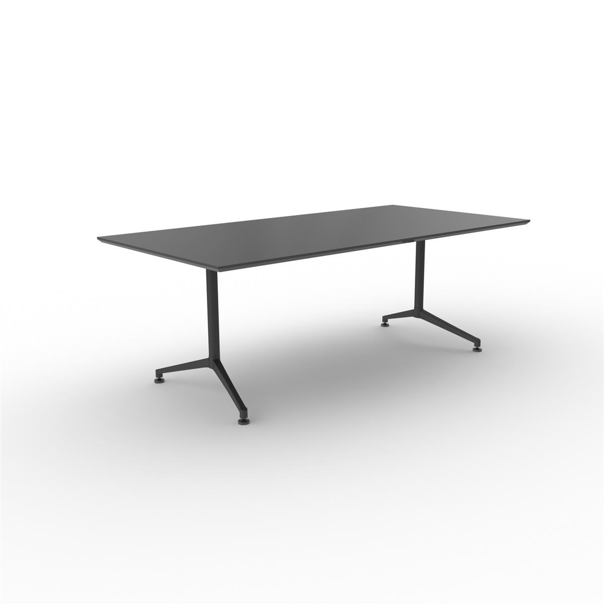 X1 Seamless Table 200 x 120 cm, sort linoleum med sort understell