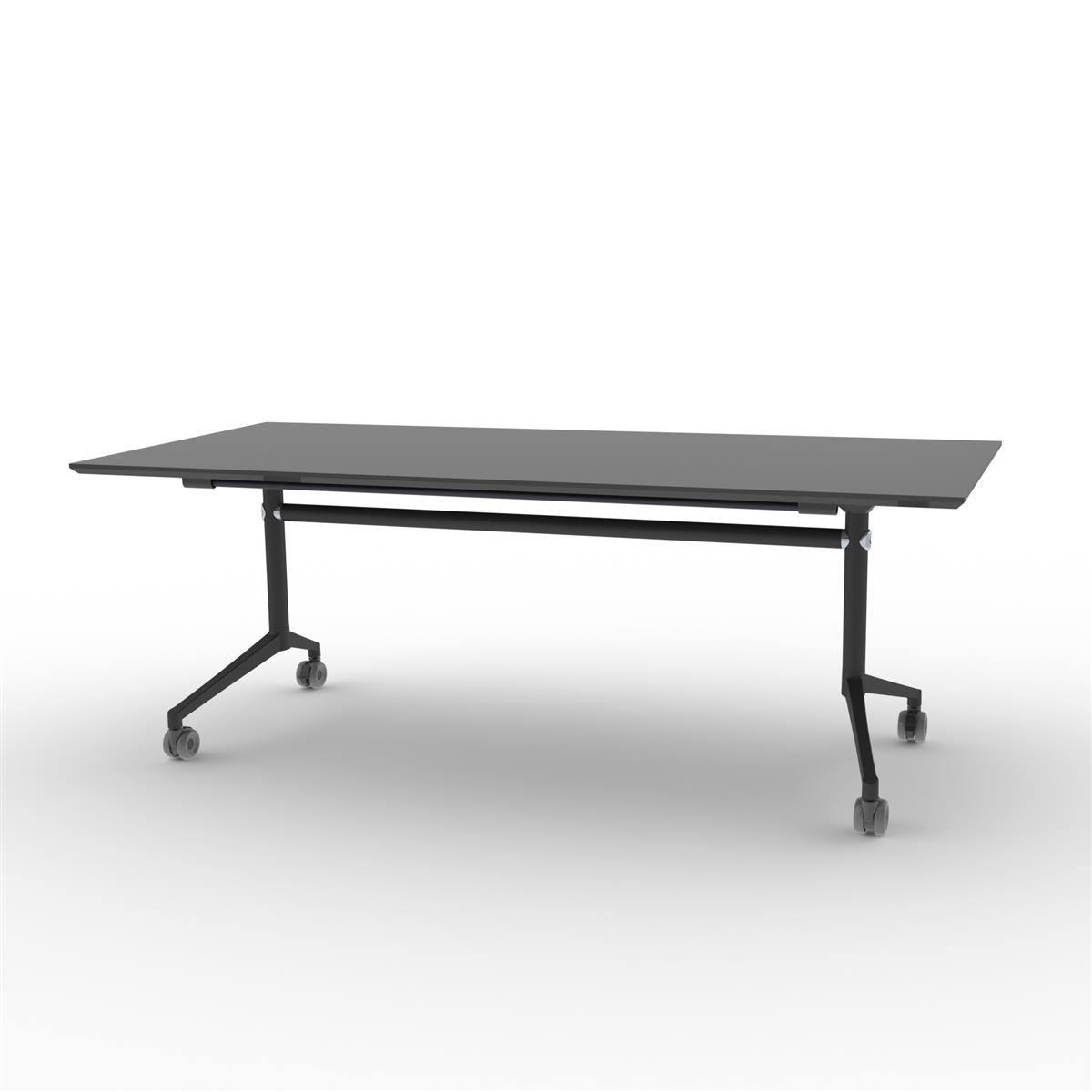 X1 Seamless Folding Table 200x90 cm med sort linoleum og sortlakkert understell