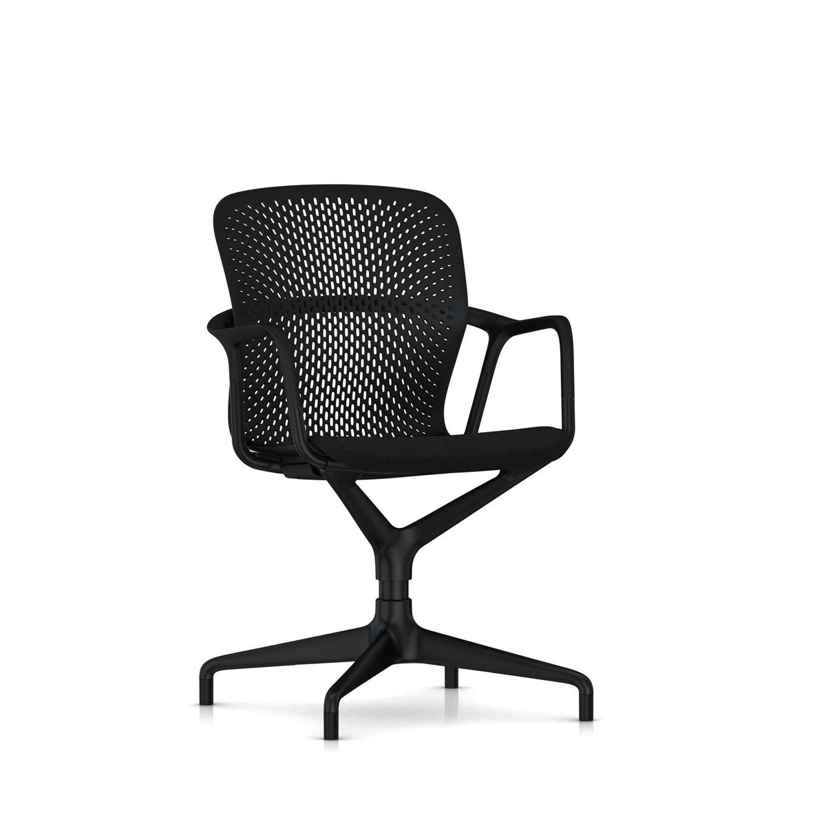 Keyn 4 Star Pedestal - Black with Arms & polstret sete med Camira Sprint, glidere for alle underlag
