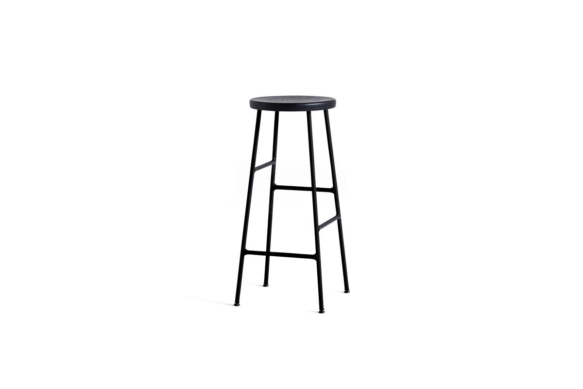 Cornet Bar Stool H75 - Soft Black Stained Oak & Black